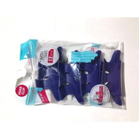חבילת קליפס פרפר פלסטיק 12 יחידות- צבע כחול-0